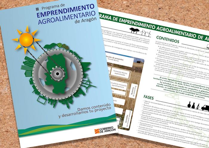 folleto emprendimiento agroalimentario, diseño editorial, instituto aragonés de fomento, zaragoza, el gato que ladra